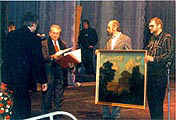 Congratulations from the Hermitage Museum and presentation of Nikolai Krymov's painting Towards Evening