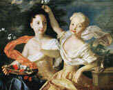 Louis Caravaque. Portrait of the Tsarevna Anne Petrovna and the Tsarevna Elisabeth Petrovna. 1717